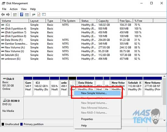 cara partisi harddisk di pc laptop untuk windows 10 5