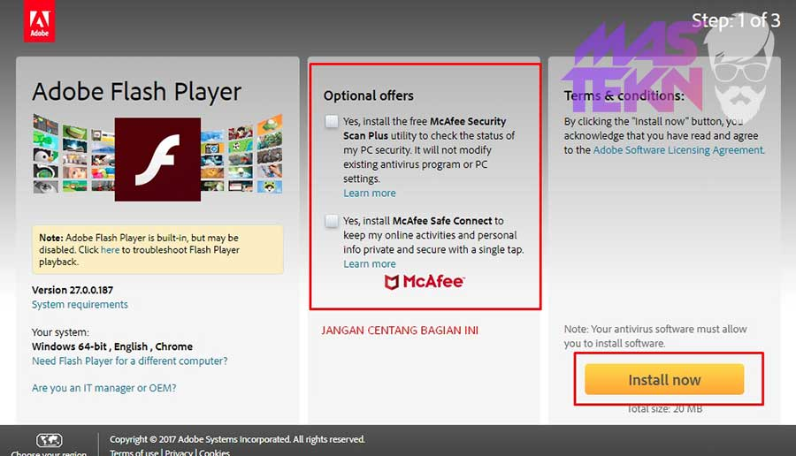 cara install adobe flash player