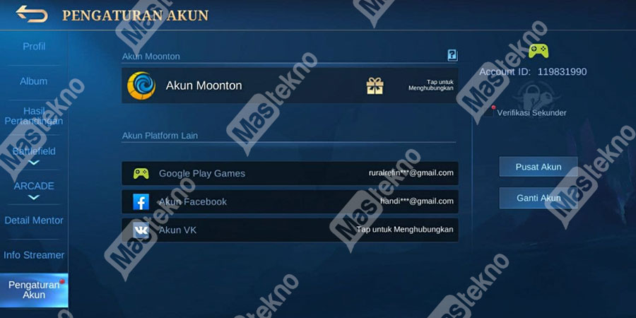 unbind akun moonton fb vk play3